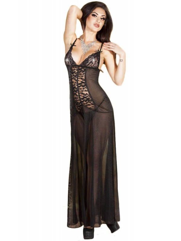 Γυναικείο σετ Babydoll - Chilirose Long Gown Black CR-3470-Black