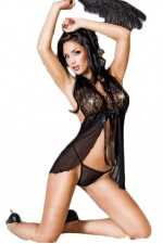 Γυναικείο Babydoll - Chilirose Babydoll and String CR-3193-Black