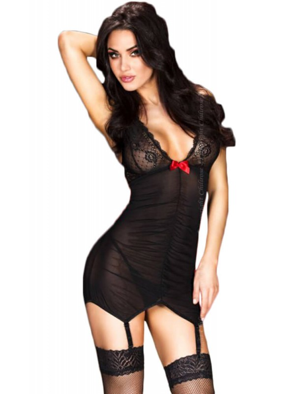 Γυναικείο Babydoll - Chilirose Black Babydoll With Garterbelts CR-3467