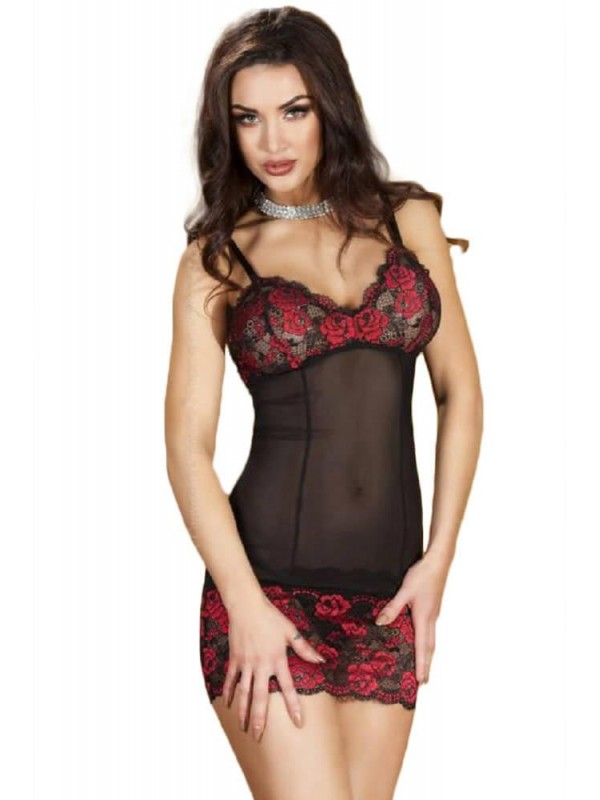 Γυναικείο Babydoll - Chilirose Babydoll and String Black-Red CR-3601