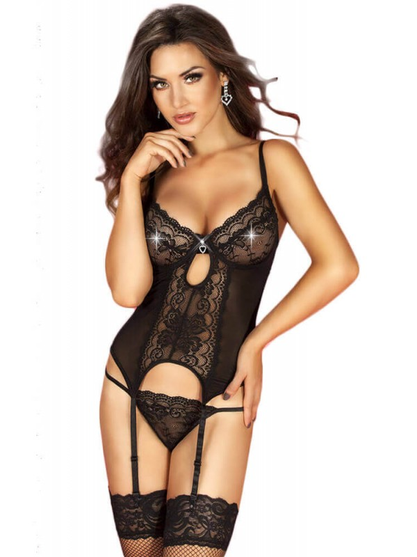 Γυναικείος κορσές - Chilirose Black Babydoll and String CR-3641