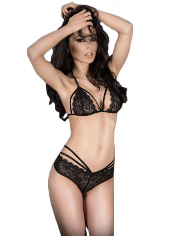 Γυναικείο σετ εσωρούχων - Chilirose Black Lace Set Bra and Panties CR-3786-Black