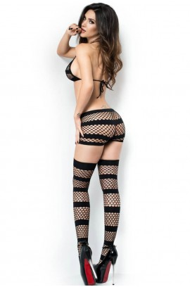 Σετ εσωρούχων - Chilirose 3 pcs Seamless fishnet Set Black CR-4059