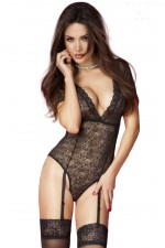 Γυναικείο κορμάκι - Chilirose Lace Body with Garter Belts CR-3673