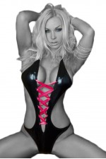 Κορμάκι Black Lace-up PVC Teddy SC-4048