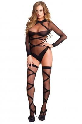Κορμάκι - Sheer Body With Opaque Criss Cross LG8471