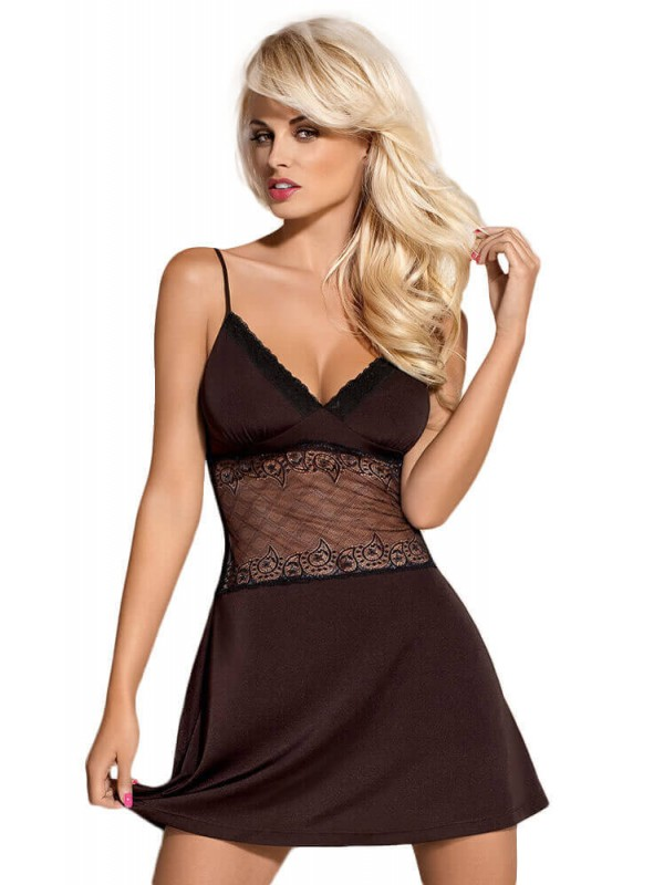 Γυναικείο Babydoll - OBSESSIVE LAMIA CHEMISE AND THONG BROWN OB7373