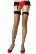 Κάλτσες - PLUS SIZE TRANSLUCENT THIGH HIGHS BLACK S4F06000