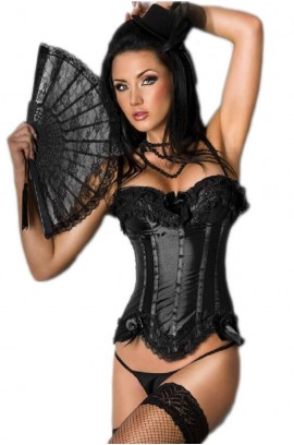Chilirose-Black Satin Corset with String CR-3068