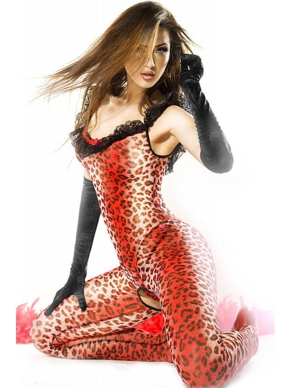 Ολόσωμο καλσόν - Chilirose Catsuit Red Panther CR-3334