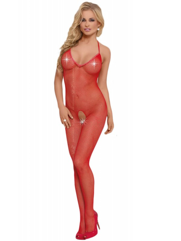 Ολόσωμο καλσόν- Bodystocking Fishnet-red SFL6236-red
