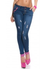 Jeans - with pink lace K600-223