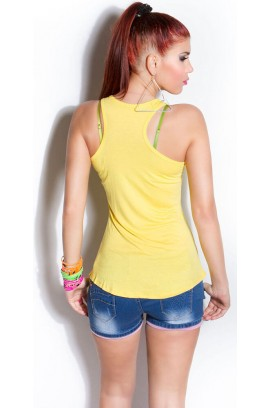 Τοπάκι - Trendy Loose Top T1170-Yellow