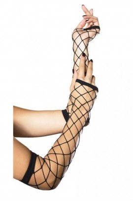 Γάντια - Leg Avenue Triangle Net Fingerless Gloves Βlack LG2105