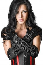 Γυνακεία γάντια - Chilirose Black Satin Gloves with Stones CR-3221-Black
