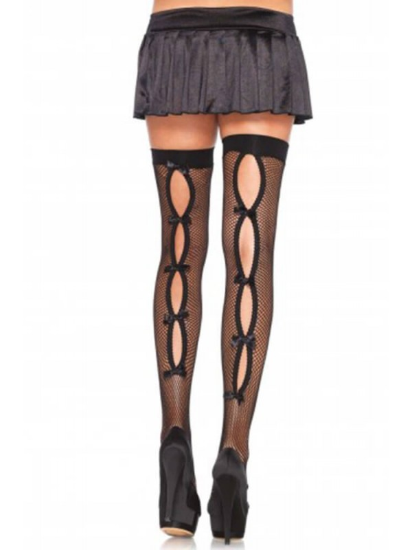 Κάλτσες - FISHNET THIGH HIGHS WITH HOLE BOW BACKSEAM S4F08216