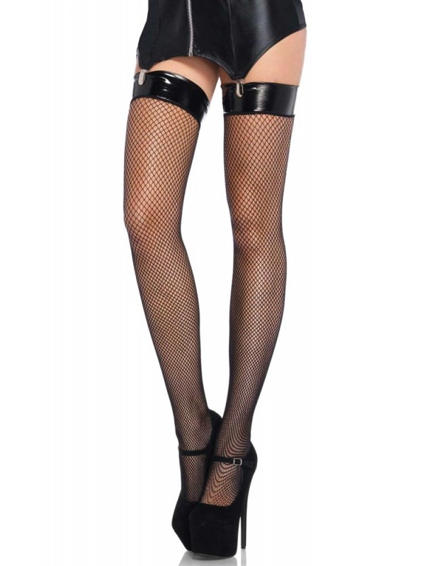 Κάλτσες - Vinyl Top Fishnet Thigh Highs LG8291