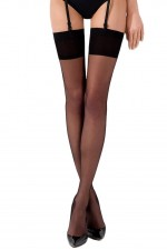 Κάλτσες - PLUS SIZE TRANSLUCENT THIGH HIGHS BLACK ST001