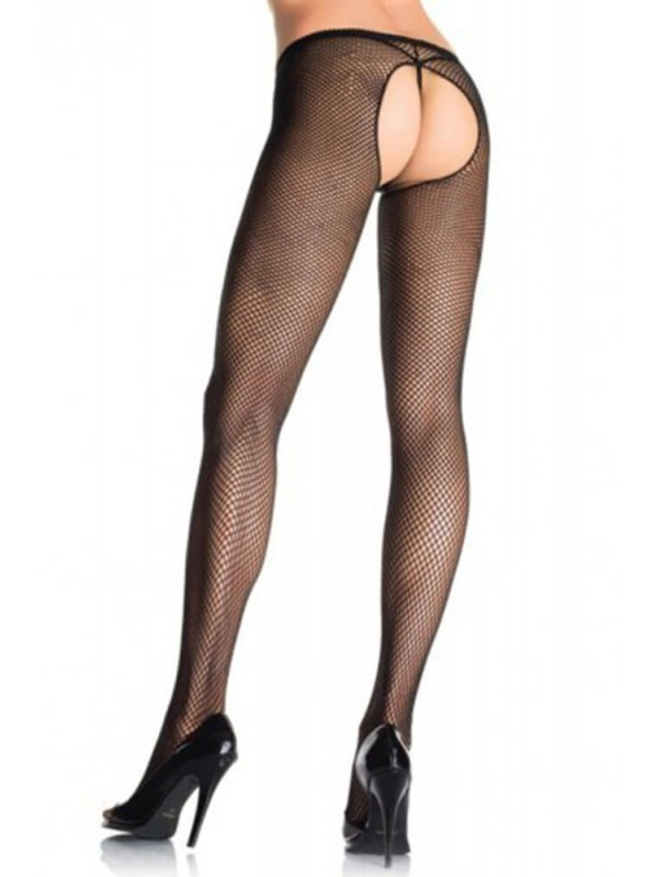 Καλσόν - PLUS SIZE FISHNET CROTCHLESS PANTYHOSE S4F05962