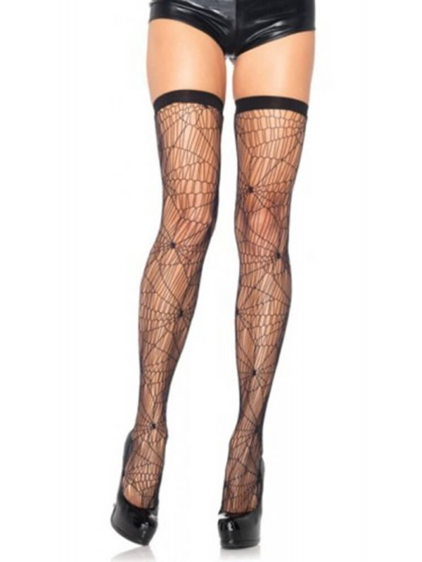 Κάλτσες - THIGH HIGHS WITH SPIDER WEB PATTERN LG6322