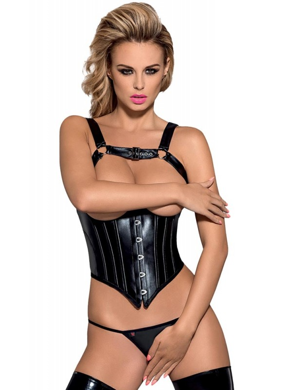 Γυναικείος κορσές - Obsessive Darksy corset and crotchless thong  OB9301