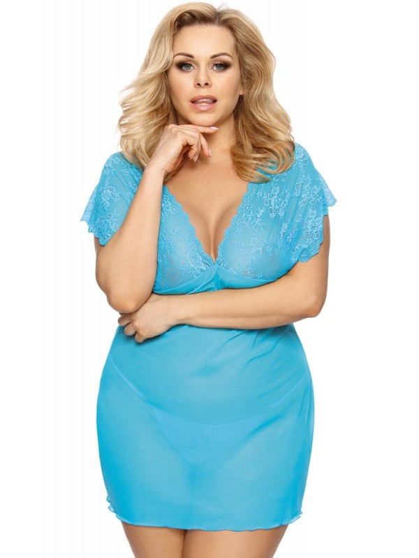 PLUS SIZE Babydoll - AS Ofeely chemise Γαλάζιο AS10027