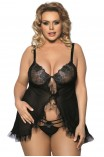 PLUS SIZE Babydoll - AS Fripa chemise Μαύρο AS10029