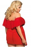 Plus Size Babydoll - Subblime Babydoll and Thong Κόκκινο S-220717