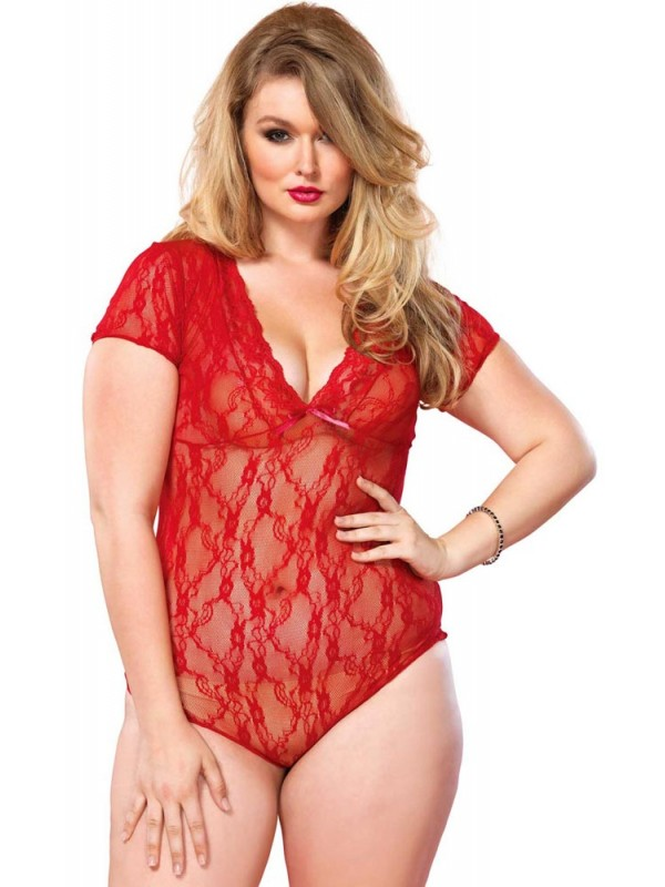 Γυναικείο Κορμάκι - Leg Avenue Floral Lace Backless Teddy Red LG81327Q