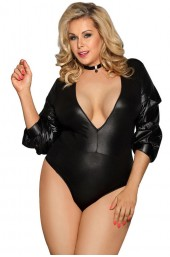 Plus Size Κορμάκι - Subblime Long Sleeve Teddy Μαύρο S-220730
