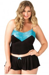 PLUS SIZE Σετ - Jersey cami and boyshorts Μαύρο Γαλάζιο LG8873