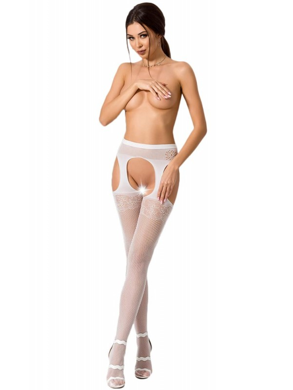 Καλσόν - ζαρτιέρα Passion Garter stockings S005-White