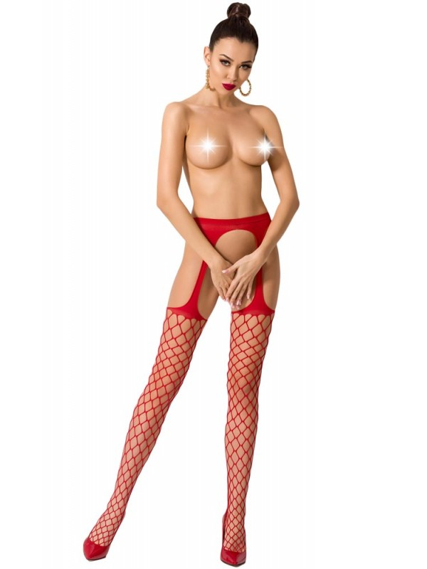 Καλσόν - ζαρτιέρα Passion Garter stockings S011-Red
