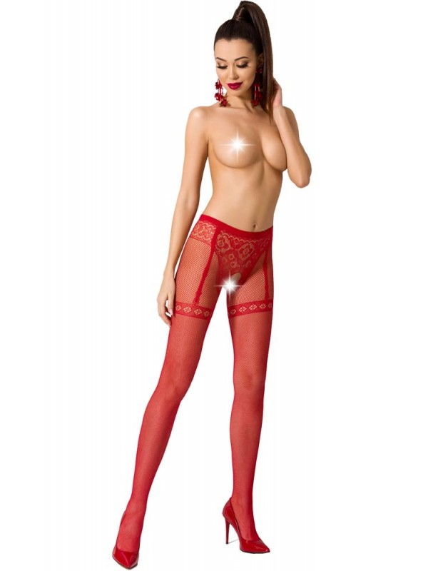 Καλσόν - ζαρτιέρα Passion Garter stockings S012-Red