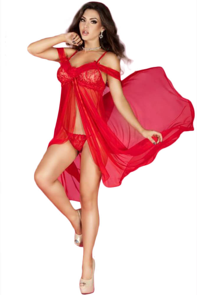 Γυναικείο σετ Babydoll - Chilirose Babydoll and String Red CR-3716-Red