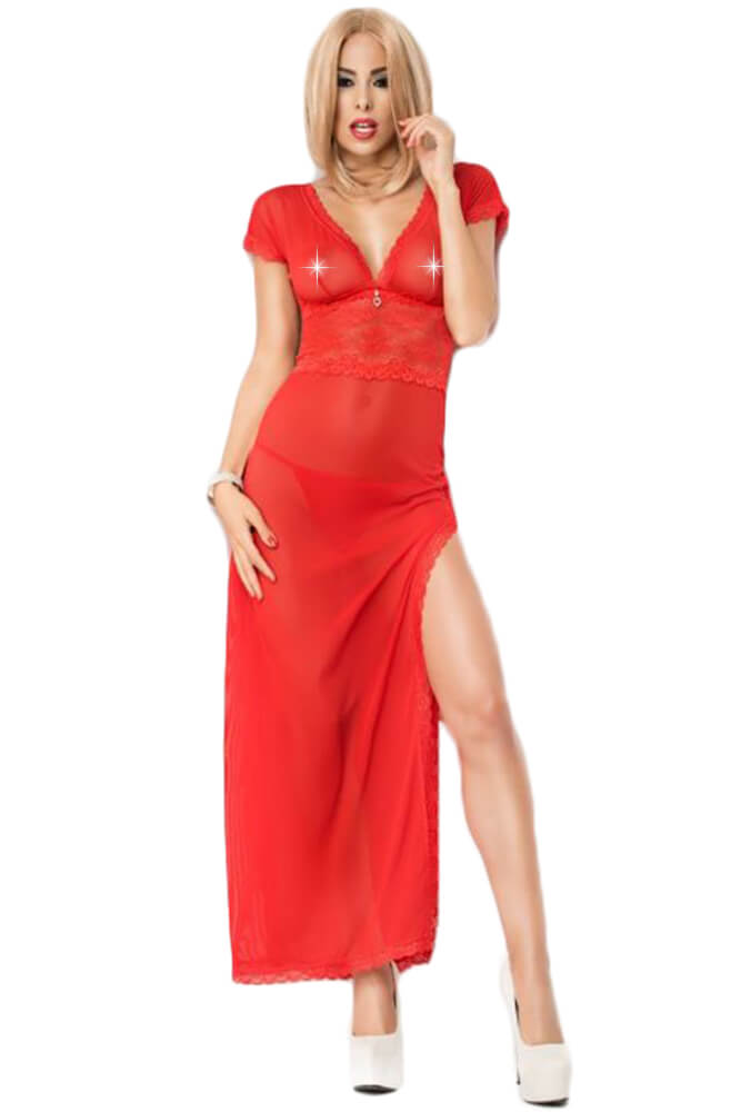Γυναικείο σετ Babydoll - Chilirose Long Red Babydoll and String CR-3625-R