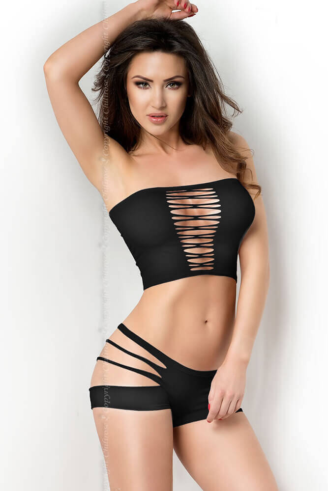 Γυναικείο σετ εσωρούχων - Chilirose Sexy Black Top and Shorts Set CR-3780-Black