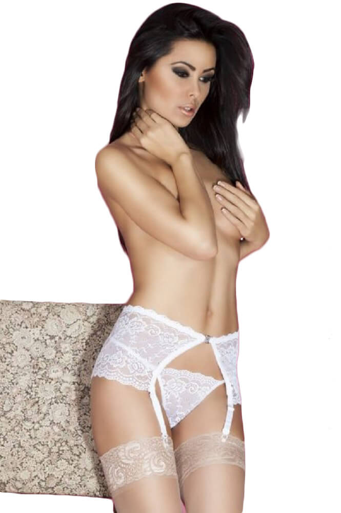 Γυναικεία ζαρτιέρα - Chilirose White Garter Belt and String CR-3618