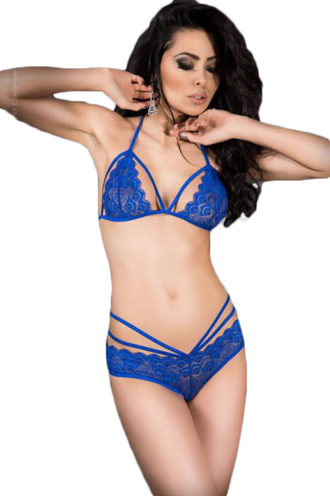 Γυναικείο σετ εσωρούχων - Chilirose Blue Lace Set Bra and Panties CR-3786-Blue