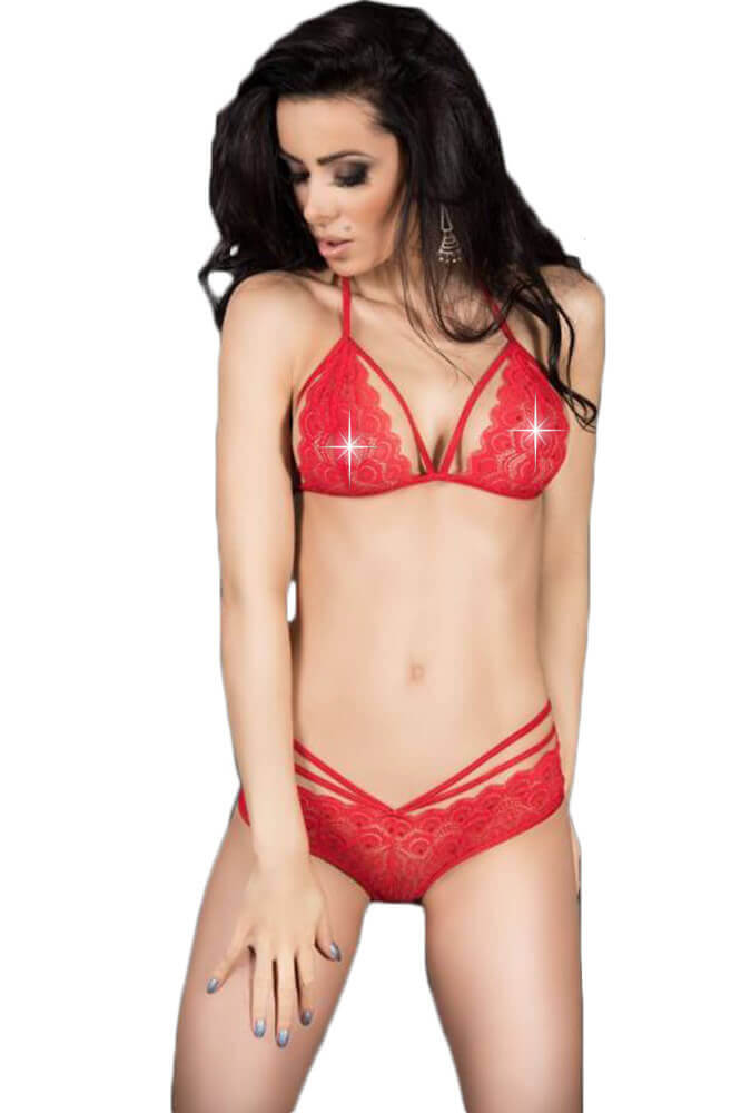 Γυναικείο σετ εσωρούχων - Chilirose Red Lace Set Bra and Panties CR-3786-Red