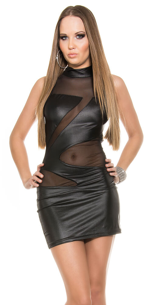 Mini Sexy Dress with insight K18401-Black