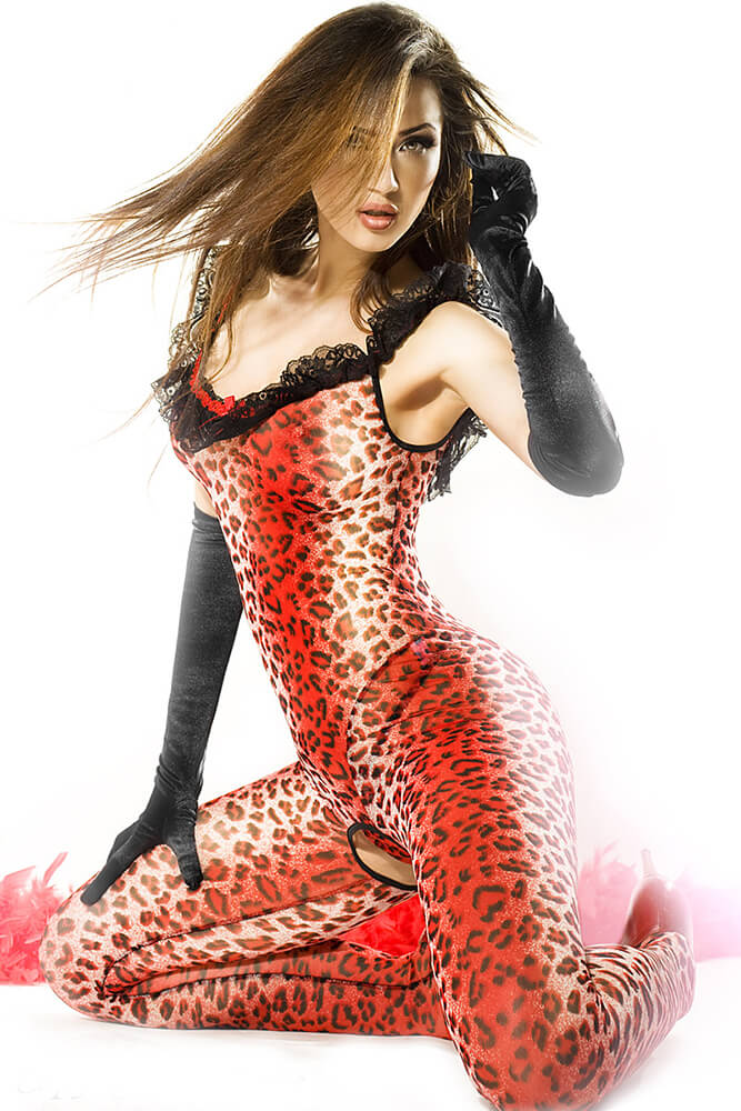 Ολόσωμο καλσόν Chilirose Catsuit Red Panther CR-3334