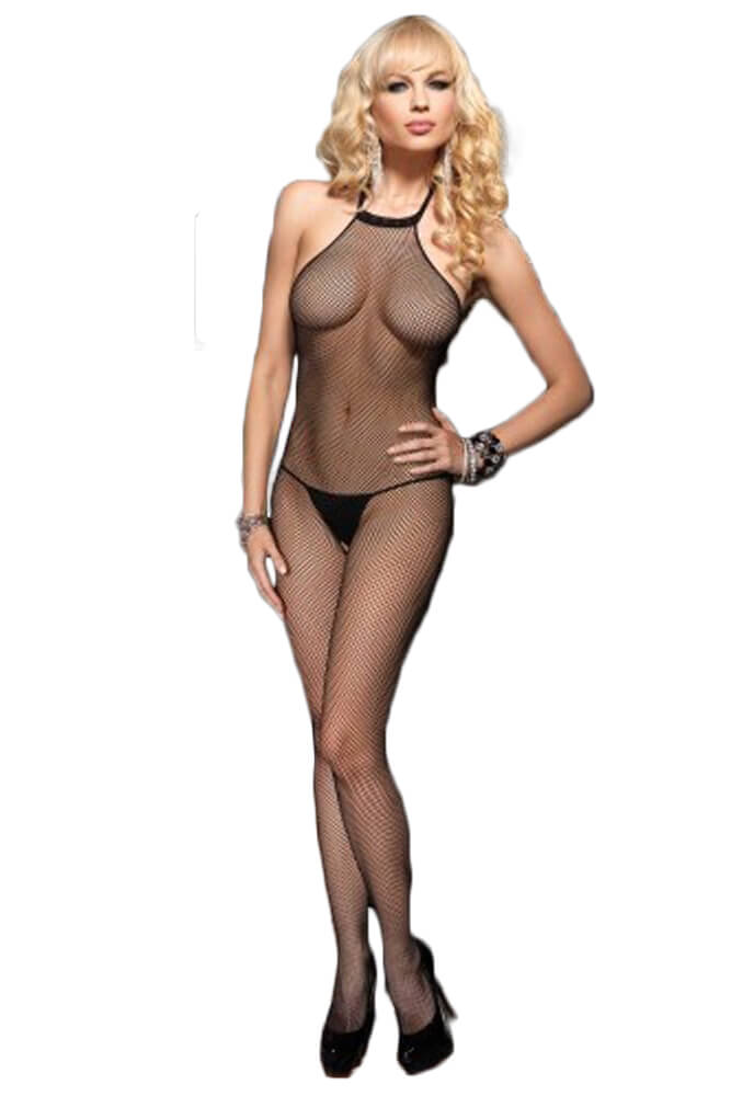 Ολόσωμο καλσόν - BACKLESS FISHNET BODYSTOCKING BLACK LG8509