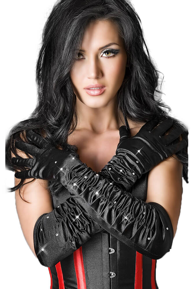 Γυνακεία γάντια - Chilirose Black Satin Gloves with Stones CR-3221-Black αξεσουαρ